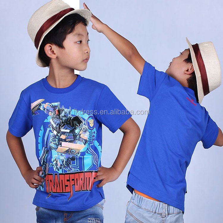 New noble design Child pattern boys t-shirt with LED lighting