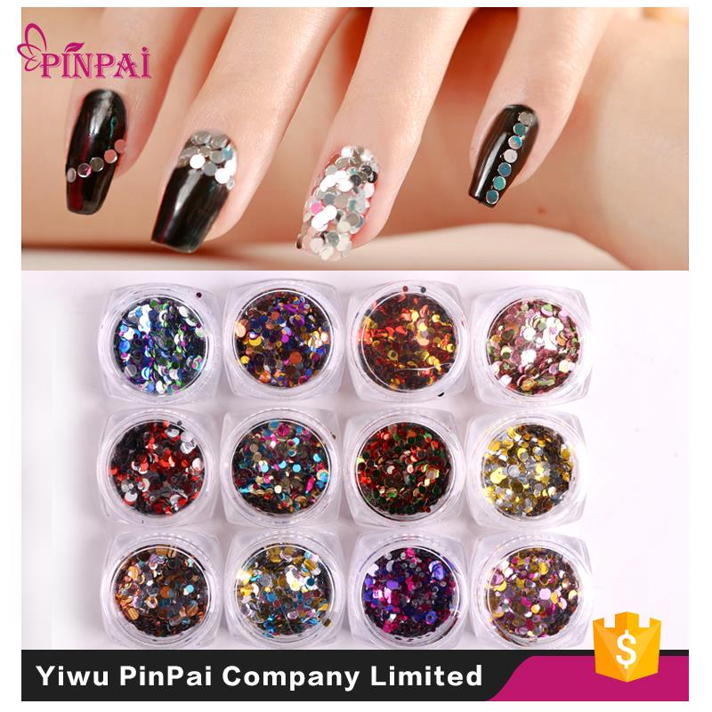 New arrival nail decoration acrylic color mixed glitter powder nail sequins for nail art