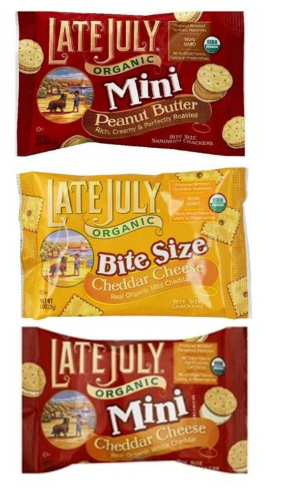 Late July Organic Non-GMO Mini Crackers 3 Flavor 12 Individual Pack Variety Bundle: (4) Peanut Butter Minis, (4) Cheddar Cheese Bite Size, and (4) Cheddar Cheese Minis, 1-1.25 Oz. Ea.