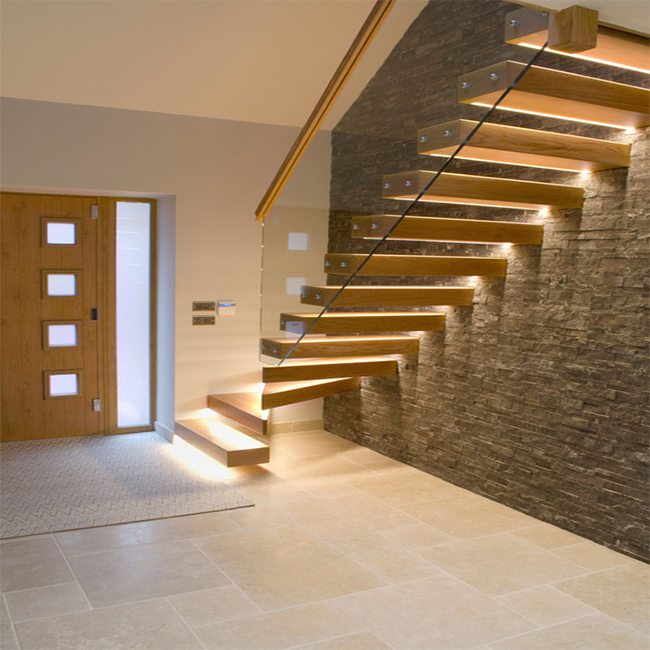 House Red Oak Tread Stairs Floating Cantilevered Staircase With Frameless