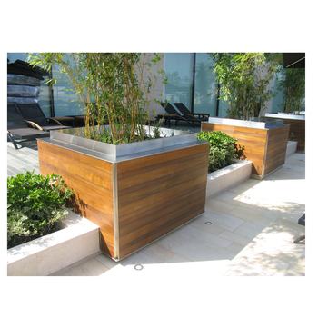 Arlau Outdoor Wooden Planter Square Flower Pot Modern Planter Large