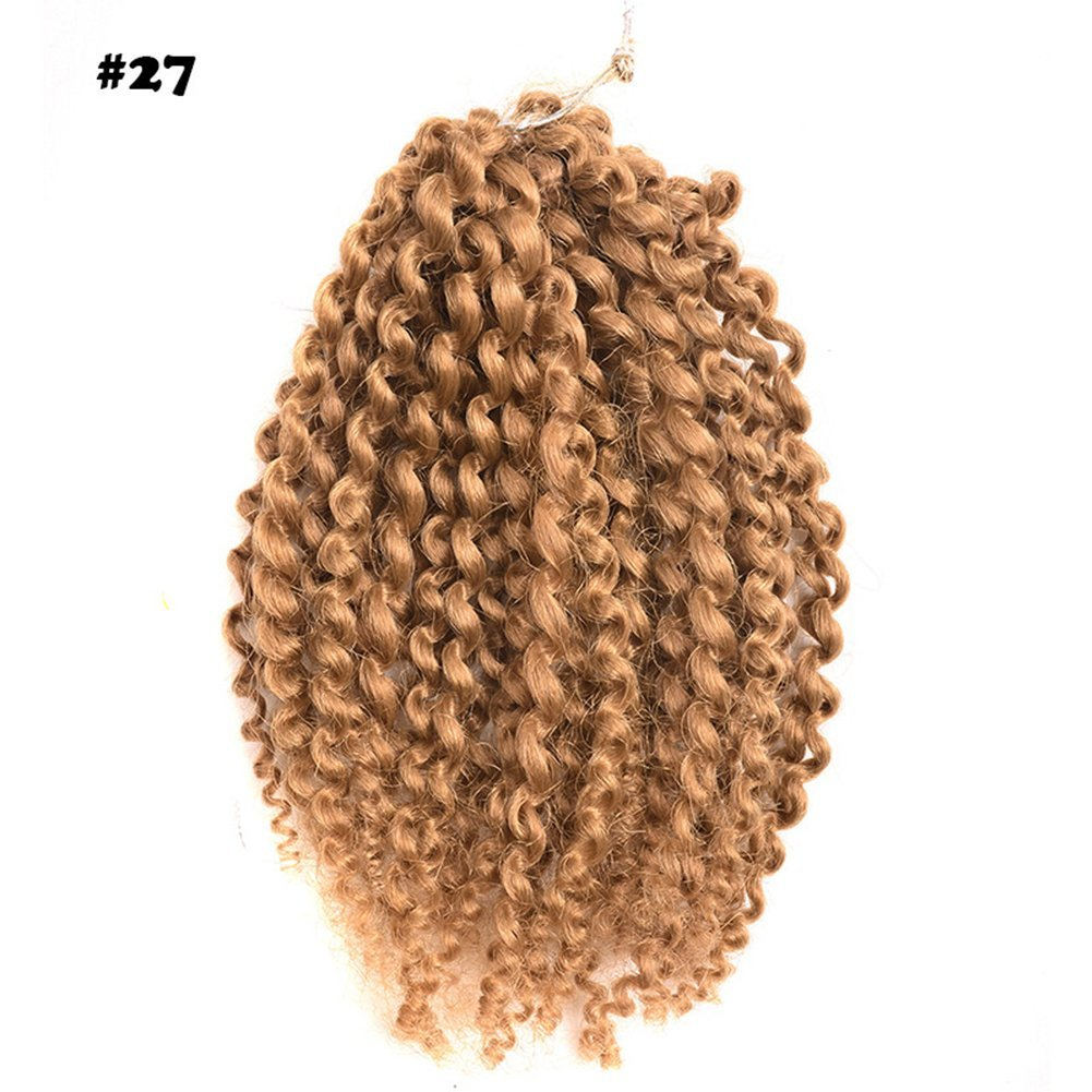 "2pack Ombre 8inch 3pcs/set Marlybob Crochet Braids Hair Curly Synthetic Braiding Hair Crochet Braid Hair Extensions afro kinky curl (8""2pack, #27)"
