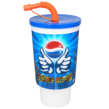 3D Lenticular Printing Food Grade Plastic Cup with Lid and Straw