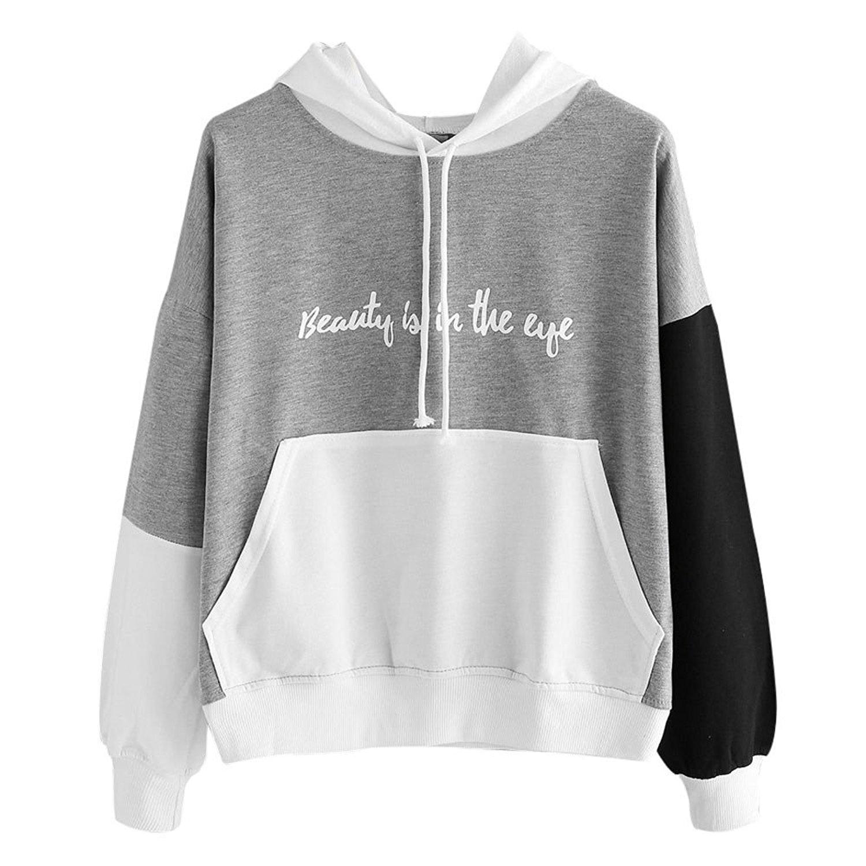 Ulanda Womens Letters Print Patchwork Long Sleeve Hoodie Ladies Sweatshirt Loose Hooded Pullover Casual Tops Blouse