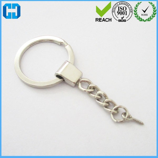 Manufacturer Fashion Bulk Metal Split Keychain Rings With Link Chain