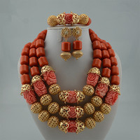 Queency African Coral Beads Carved Rose Bridal Jewelry Set Wedding