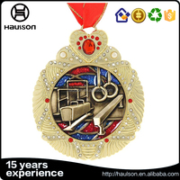new fashion wholesale 3d custom stamping rimmed shiny diamond glittering insert iron brass zinc alloy gold plated sport medal wi