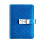 Classic lozenge design pu leather diaries and note books loose leaf notebook with lock