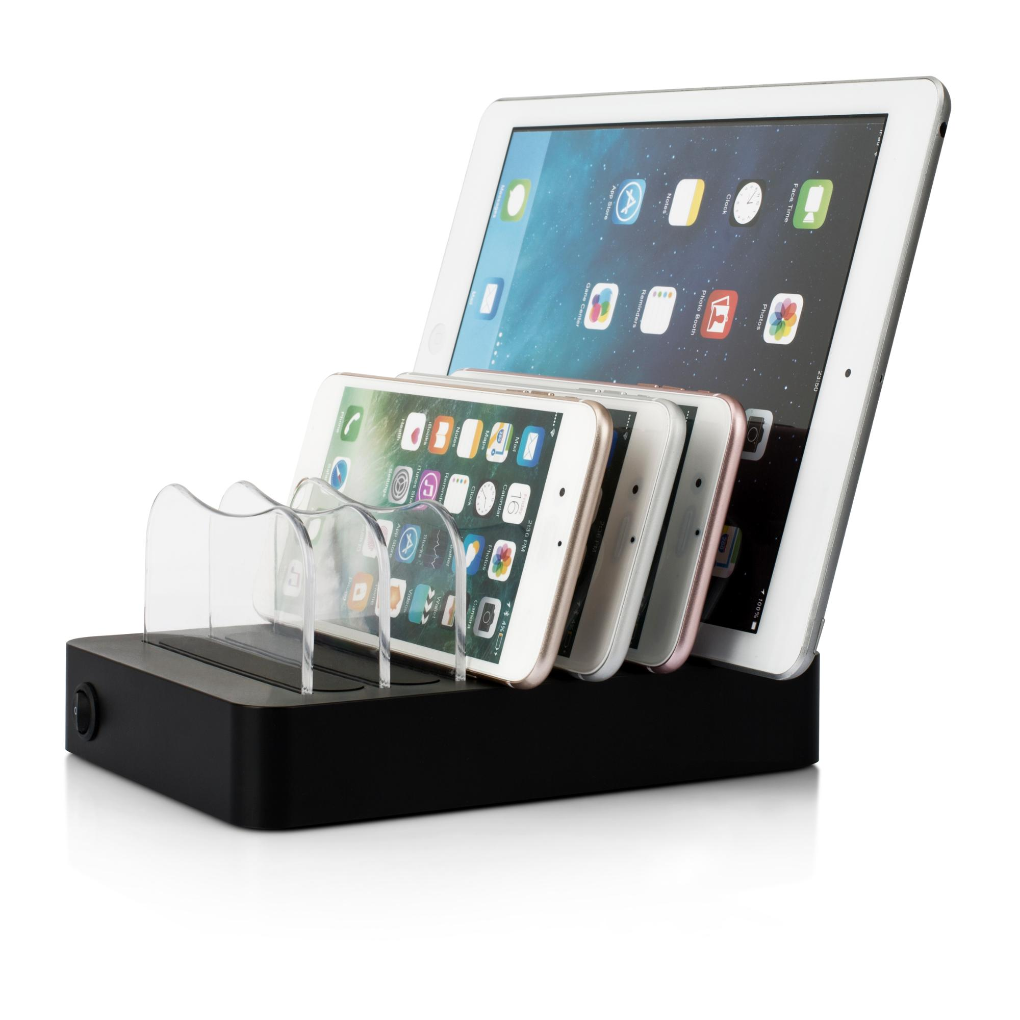Portable Multi Device 6 Port USB Cell Phone Charging Station for Smartphone
