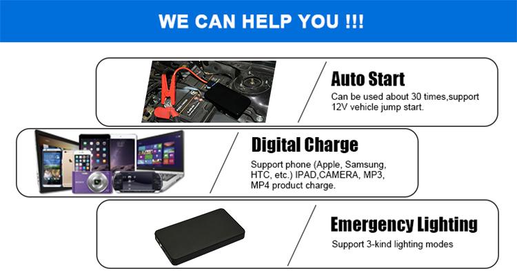 Multi-functional car jump starter power bank 8000mah power banks