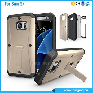 3 in 1 TPU + PC shockproof tank armor kickstand case for samsung galaxy s7 with waterproof screen protector