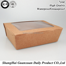 New disposable bento kraft paper lunch box/paper meal broad tray box/noodle packing with window