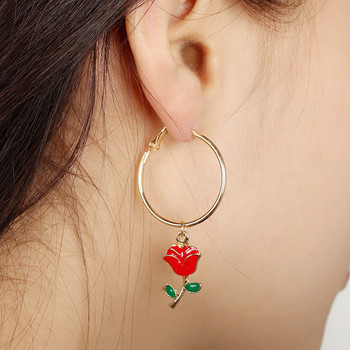 gold amazon red rose cheap hoop earrings