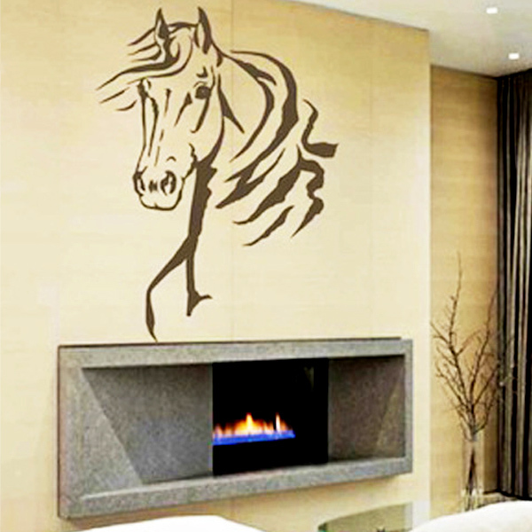 horse head animal wall stickers boys bedroom mural art decor wall decals quote lettering living. Black Bedroom Furniture Sets. Home Design Ideas