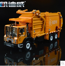 Sanitation trucks Garbage trucks 1:24 car model diecast alloy origin kids toy KDW 625040 Trailer Kaidiwei gift boy 3 color