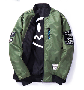 Fashion Mens Reversible Flight Printing Bomber Jacket