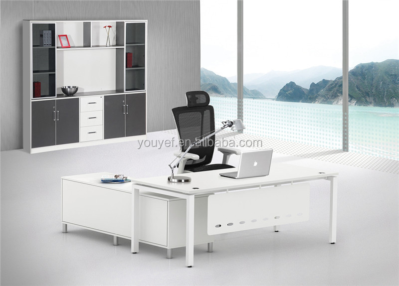 Contemporary Design White Modern Executive Office Desk With File