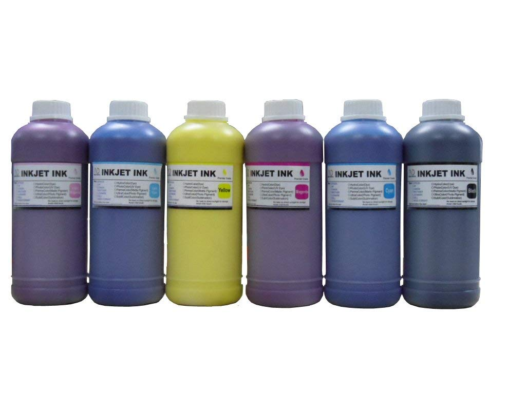 ND ™ Brand Dinsink: 6 Pint Premium UV Pigment Refill Ink kit (BK/C/M/Y/LC/LM) for HP DesignJet 5000 Series. 5000 UV. 5000ps UV. 5500 UV. 5500PS UV. HP 83 cartridge and CISS. The item with ND Logo!