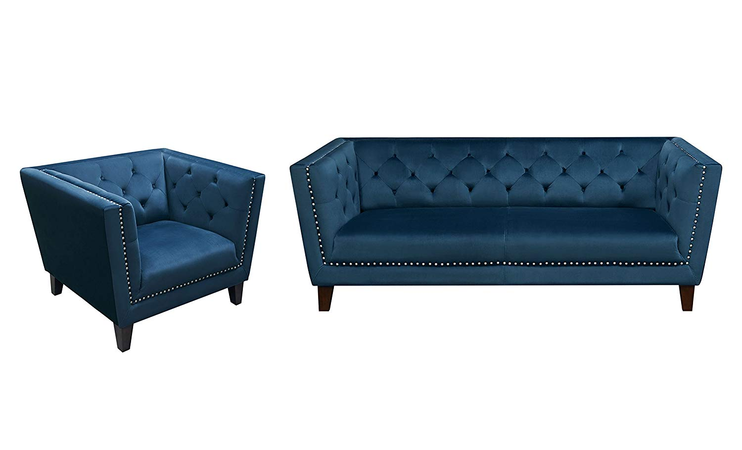 Charming Get Quotations · Grand Tufted Back Sofa U0026 Chair 2PC Set With Nail Head  Accent In Blue Velvet ,
