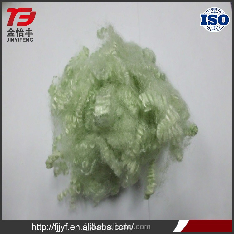 15D*64mm sofa filling material recycled green dope dyed polyester nonwoven fabrics fiber fabrics with great price