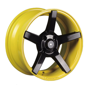 15 inch yellow alloy rims with black spokes,4x100 aftermarket wheels