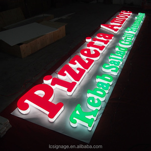 Outdoor 3D Led lighted box letters Pizza store name signs 3D acrylic store sign