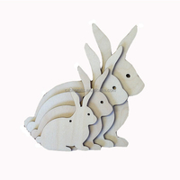 Customized Decorative Spring Easter Wooden Hanging Rabbits