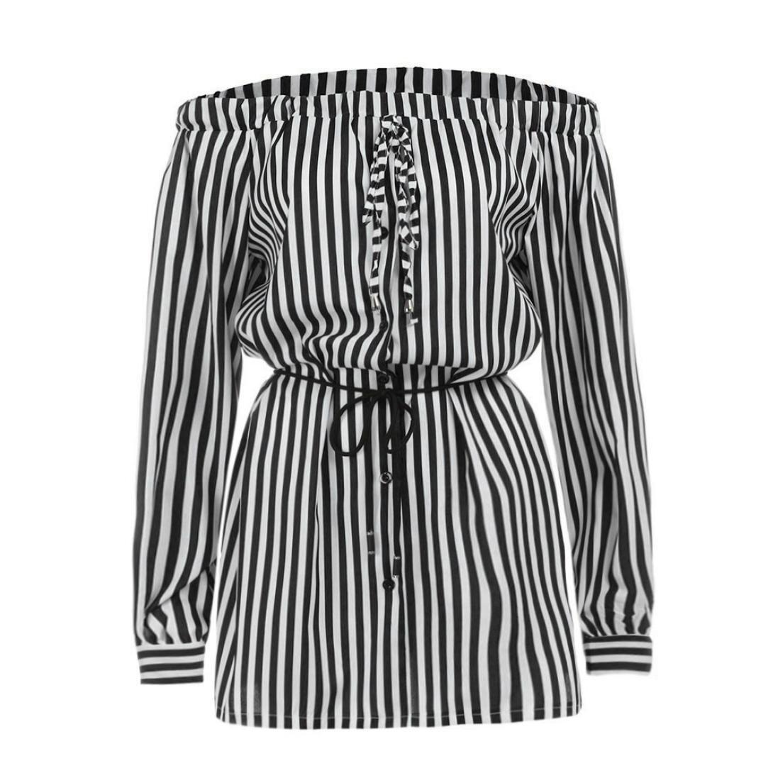 Women Strip Off Shoulder Bowknot Mini Dress, Aritone Ladies Button Bowknot Mini Party Dress (L, Black)