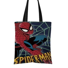 Spinne mann animierte Poster Emoji Gedruckt Handgemachte Form Eco <span class=keywords><strong>Leinwand</strong></span> Tote Taschen Muster