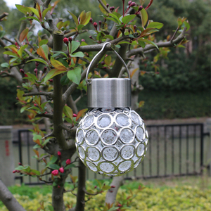 Outdoor Decorative Crystal Ball Hanging Light Solar Powered Color Changing LED Light