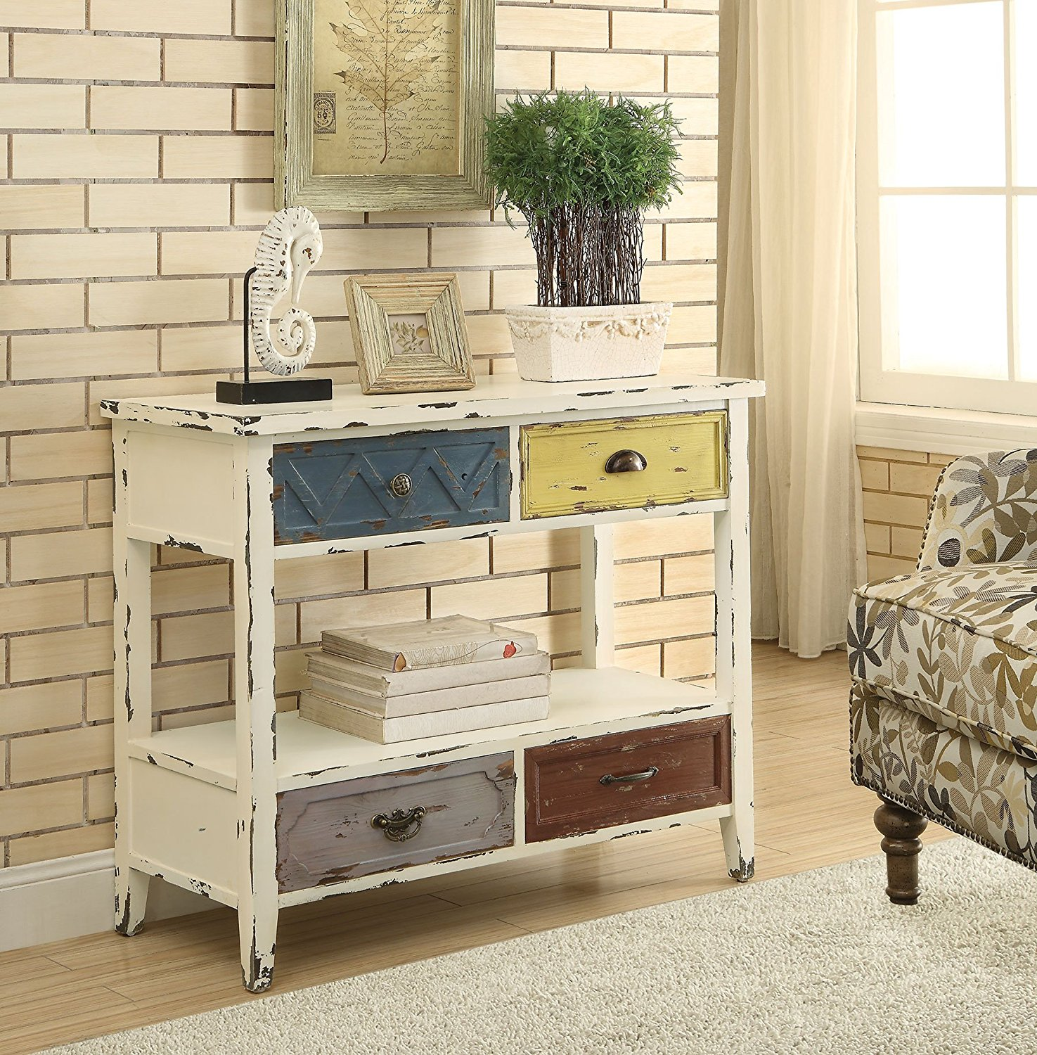 Good 1PerfectChoice Hallway Accent Chest Cabinet Storage Console Table Display  Shelf Antique White