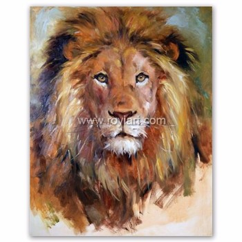 handmade modern african savannah animal lion canvas oil painting