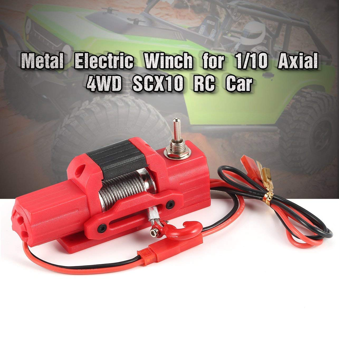 WOSOSYEYO Metal Electric Winch Car Parts for 1/10 Axial 4WD SCX10 Traxxas D90 RC Crawler Red