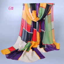 News Spring summer geometry print lady multicolor silk Chiffon neck band decorative scarf