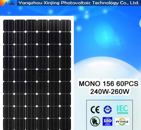 high efficiency and low price solar panel 250watt 60pcs solar cell