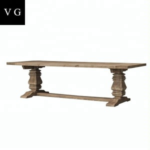 French country solid oak wooden vintage farm dining table