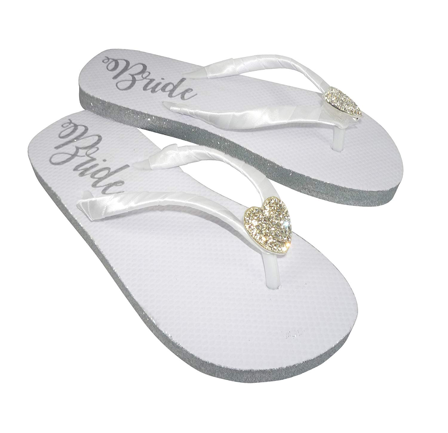 6c1965e6f473 Get Quotations · Silver Glitter Bride Sole Flip Flops with Rhinestone  Embellishment