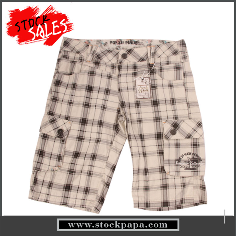 Stock men plaid basketball sport twill cargo shorts with pockets