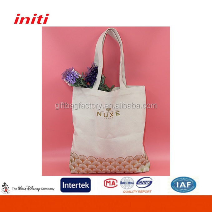 OEM Factory Golden Stamp Promotional Cotton Tote Bag