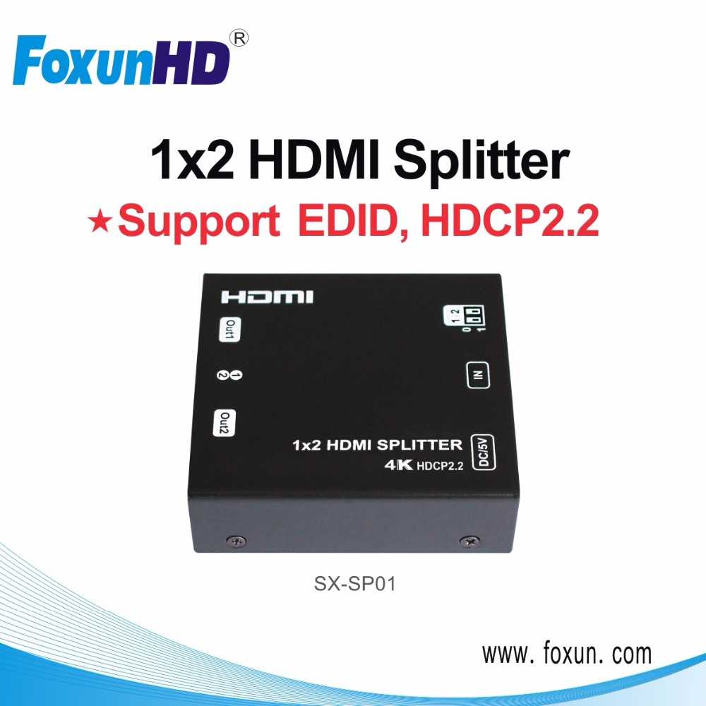 Ultral HD 4K HDMI 2-Port Video Splitter comply with HDCP2.2 LPCM 7.1 audio output