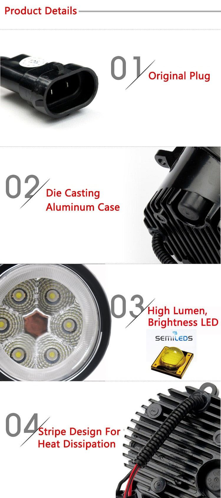 led Front fog lamp replacement original fog lamp PEUGEOT 103 207 208 307 308 406 407 508