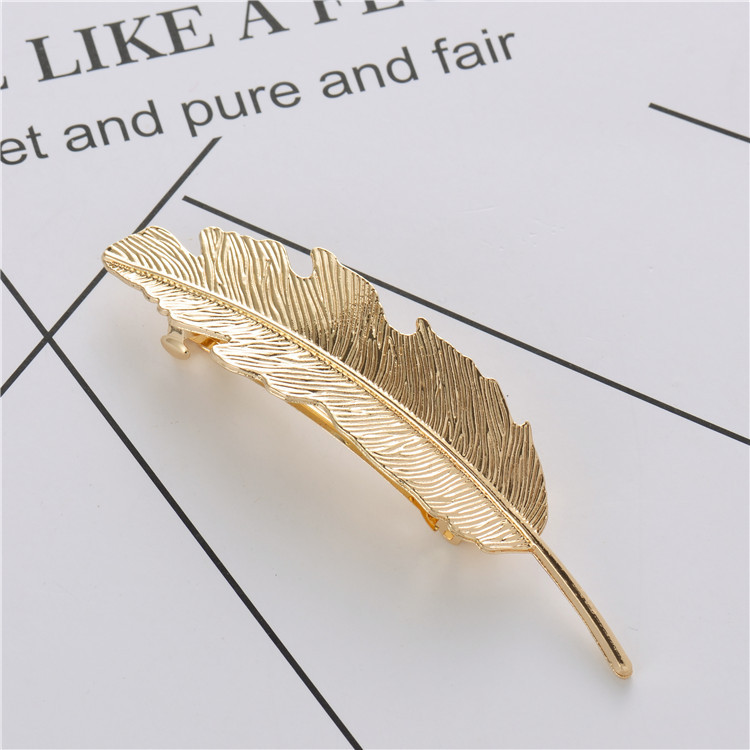 Fashionable gold alloy leaf feather hairpin