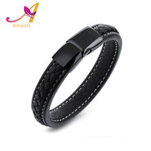 2017 Trend Fashion Design Men Leather Bangle 316L Stainless Steel Magnetic Buckle Black Cowhide Braided Leather Bracelet