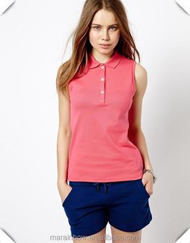 c3fb5f9757a7c Blank 100% Cotton Pique Women s Sleeveless Golf Polo Shirt Women s Pink  Sleeveless Knit ...