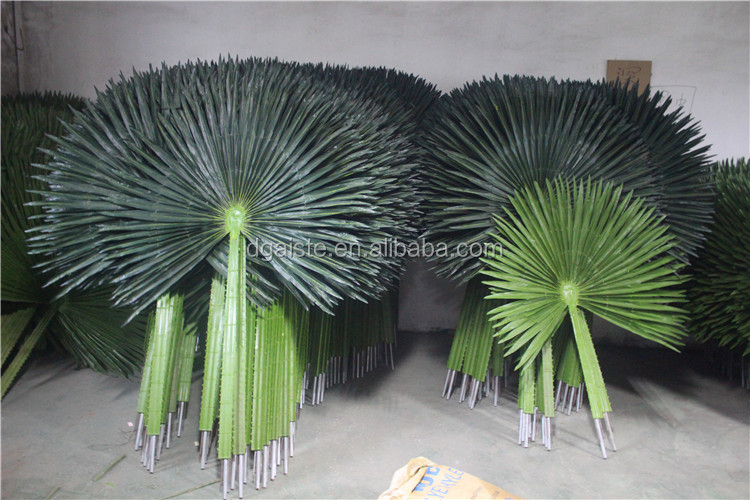 outdoor UV proof artificial round fan shape palm leaf