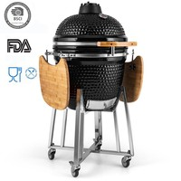 Auplex Big Black Clay Kamado Egg BBQ Grill