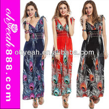 Vintage style peacock patterns sexy womens long beach dress cheap maxi dress