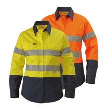 high quality 100% drill safety wear men's long sleeve shirt with reflective tape hi-vis pullover work shirt
