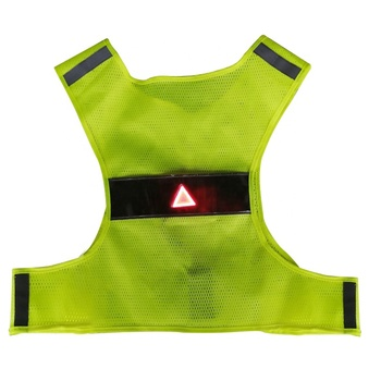Battery Waterproof Yellow Safety Vest Reflective Running Vest With Two Light Bar