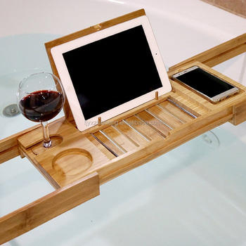 Natural Bamboo Bathtub Caddy Expandable Shower Bath Tub Tray Organizer:  Holds Wine Glass, Cup